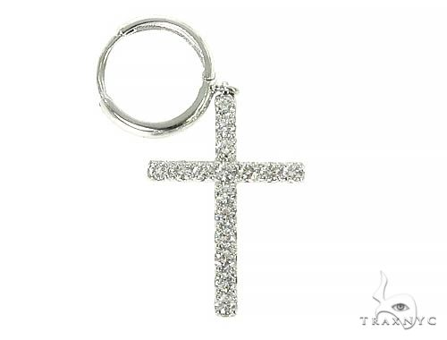 14K Gold Diamond Single Cross Earrings 66201 Stone