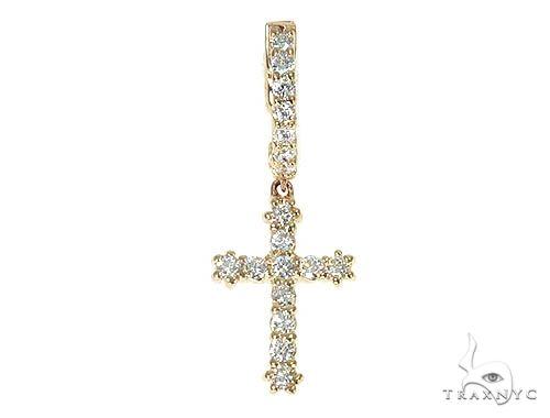 14K Gold Diamond Single Cross Earrings 66202 Stone