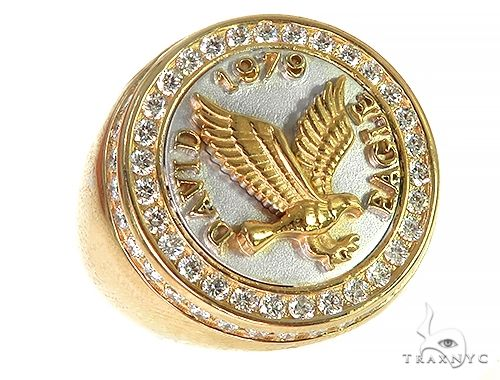 18K Two Tone Custom Made Eagle Diamond Ring 66205 Stone