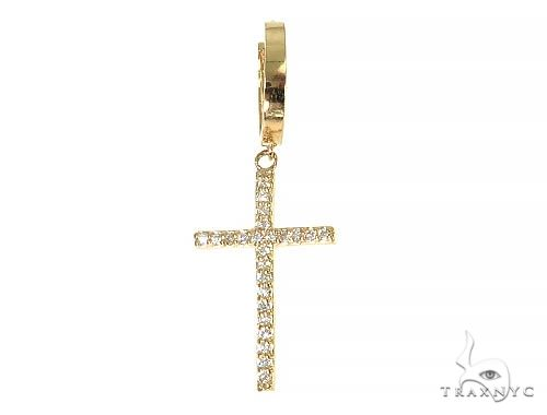 14K Gold Diamond Single Cross Earrings 66200 Stone