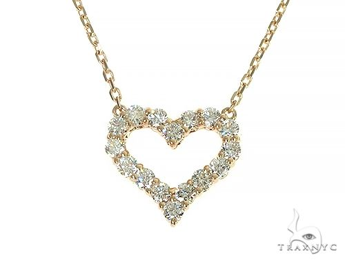 14K Yellow Gold Heart Diamond Necklace 66212 Diamond