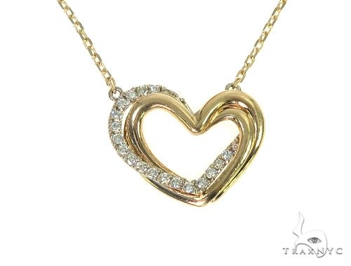 14K Yellow Gold Heart Diamond Necklace 66213 Diamond