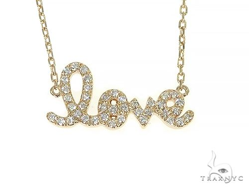 14K Yellow Gold LOVE Diamond Necklace 66214 Diamond