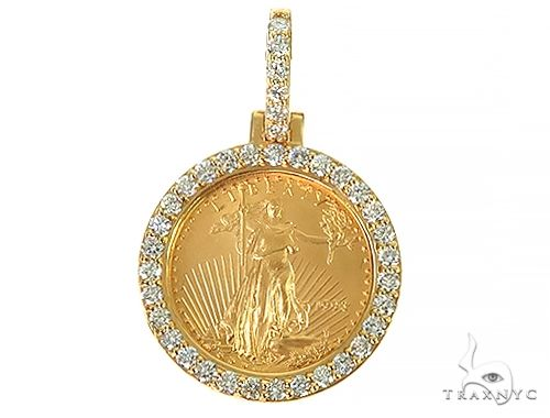 Diamond Lady Liberty Coin Pendant 66219 Metal