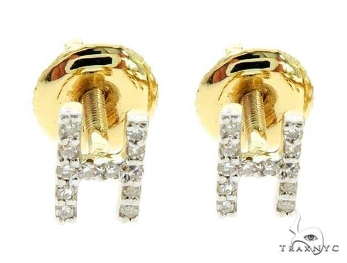 Prong Diamond Initial 'H' Earrings 57149 Stone