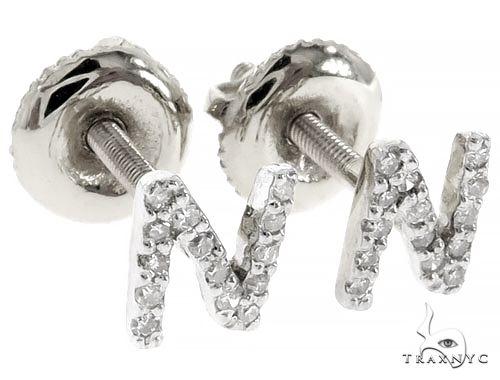 Prong Diamond Initial 'N' Earrings 57148 Stone