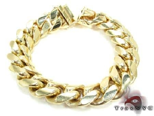 Solid Miami Cuban Link Bracelet 14K Yellow Gold 8 Inches 12.5mm 87.5 Grams Gold