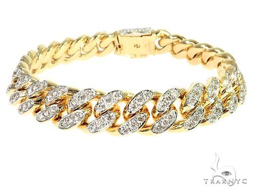14K Yellow Gold Cuban Link Diamond Bracelet 84.80 Grams 8.5 Inches 16.5mm 66240 Diamond