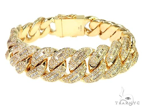 14K Yellow Gold Cuban Link Diamond Bracelet 90.50 Grams 8 Inches 16mm 66241 Diamond