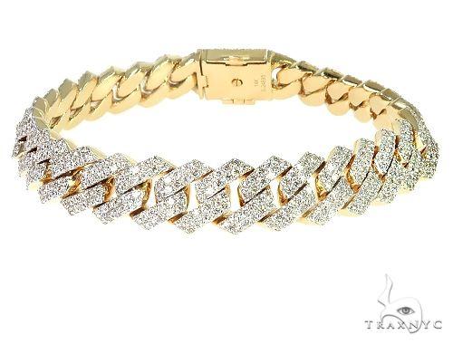 14K Gold Diamond Cuban Link Bracelet 53.70 Grams 8.5 Inches 12mm 66242 Diamond