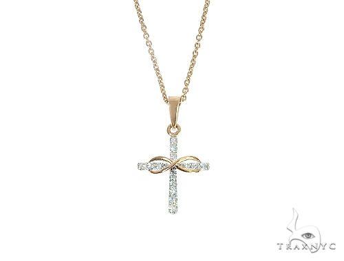 14K Rose Gold Infinity Diamond Cross Set 66243 Diamond Cross Pendants