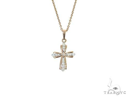 14K Rose Gold Diamond Cross Set 66244 Diamond Cross Pendants