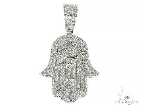 10K White Gold Micro Pave Diamond Hamsa Hand Charm Pendant 63619 Metal