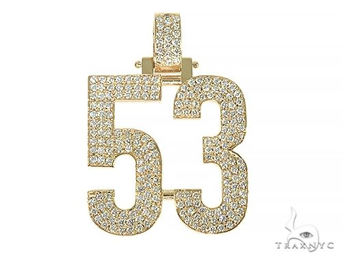 Custom Made Diamond Number Pendant 66254 Metal