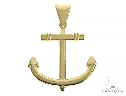 14K Gold Anchor Pendant 66256 Metal