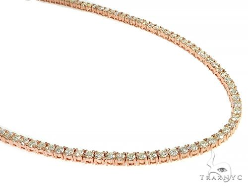 14K Rose Gold Diamond Tennis Chain 50.30 Grams 22 Inches 3.70mm 66257 Diamond
