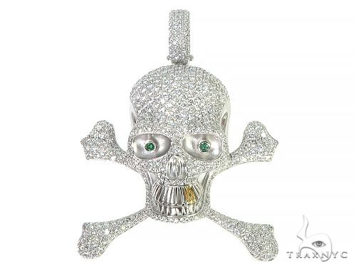 Custom Made Diamond Skull Pendant 66258 Metal