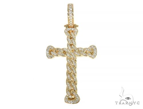 Miami Cuban Link Diamond Cross Crucifix 58595 Diamond