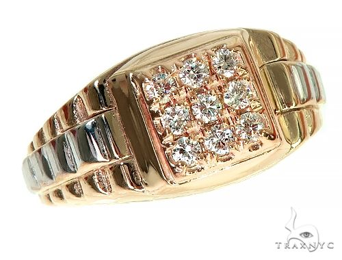 14k Two Tone Gold Men's Diamond Ring 64664 Stone