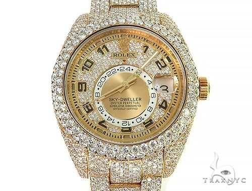 Fully Iced Out Sky-Dweller Oyster Perpetual Rolex Watch 66263