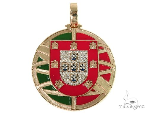 Custom Made Portugal Flag Diamond Pendant 66267 Metal