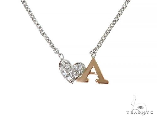 14K Two Tone Heart Initial Diamond Necklace 66269 Diamond