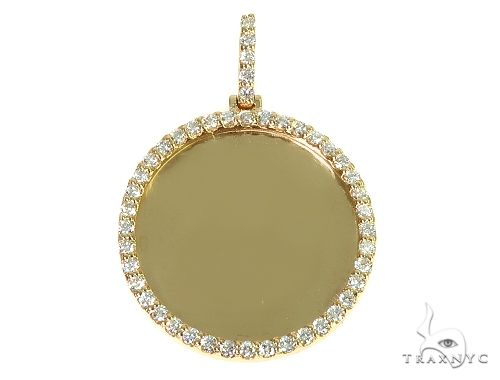 14K Yellow Gold Sweet Memories Collection Medium Diamond Photo Pendant 66281 Style