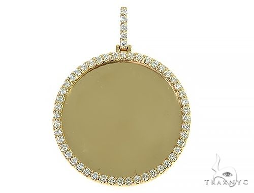 14K Yellow Gold Sweet Memories Collection Large Diamond Photo Pendant 66282 Style
