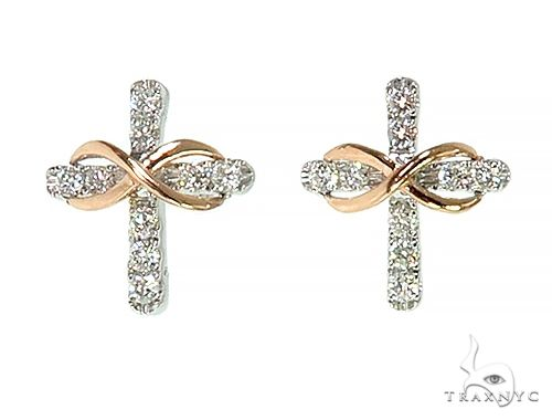 14K Rose Gold Infinity Diamond Cross Earrings 66272 Stone
