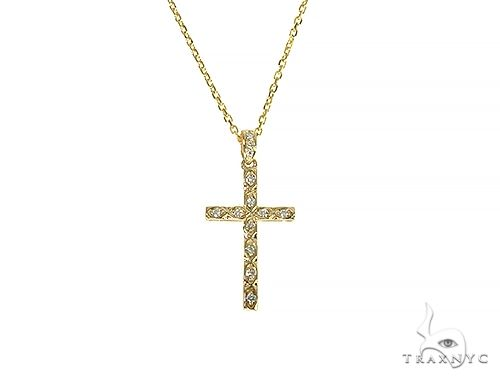 Fancy Oval Round Cut Diamond Cross Set 66285 Style