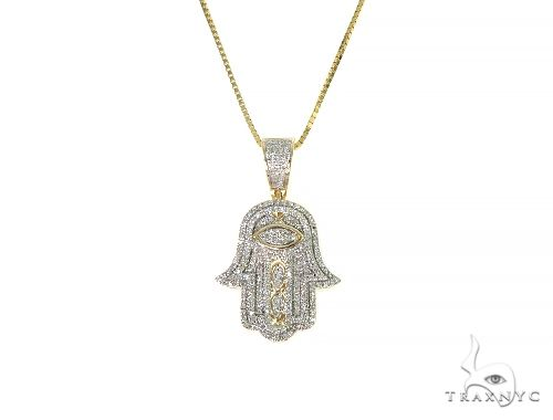 10K Gold Micro Pave Diamond Hamsa Hand Charm Set 66286 Metal