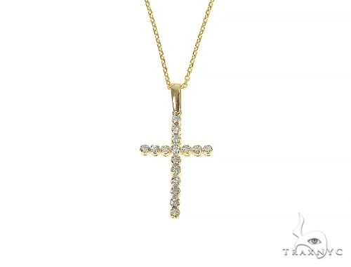 14K Gold  Diamond Cross Set 66287 Style