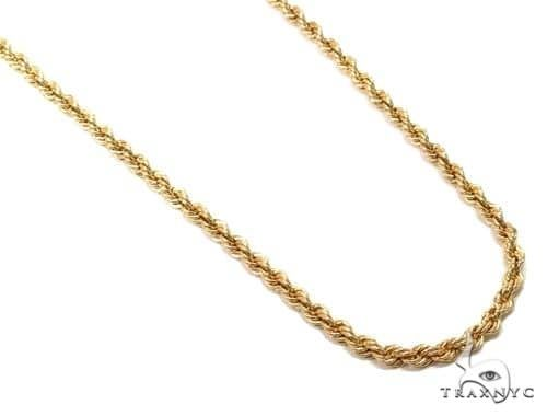 14K Yellow Gold Hollow Rope Link Chain 26 Inches 2.7mm 5.3 Grams 66292 Gold