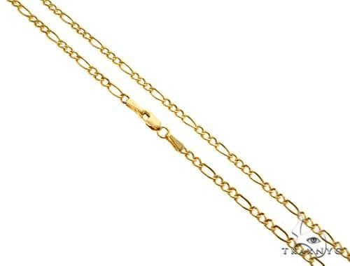 14K Yellow Gold Hollow Figaro Link Chain 24 Inches 2.5mm 3.3 Grams 66296 Gold