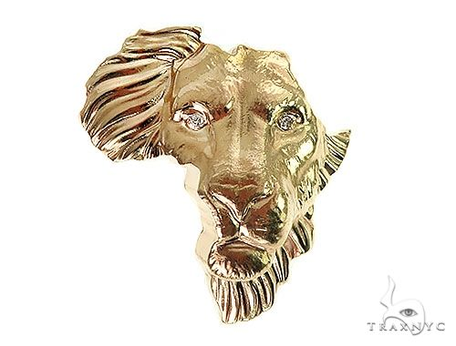 Custom Made African Lion Face Pendant 66302 Metal