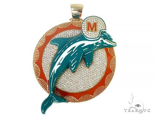 Custom Made Miami Dolphins Diamond Pendant 66304 Metal