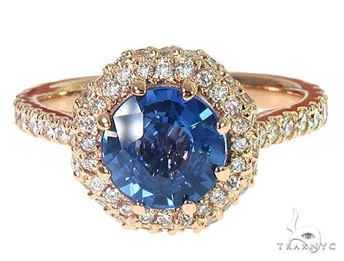 18K Gold Custom Sapphire Diamond Engagement Ring 66305 Engagement