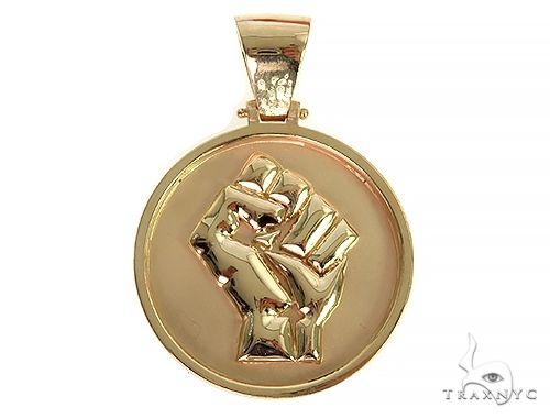 Custom Made Solid Gold People Power BLM Pendant 66308 Metal