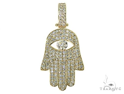 14K Gold Diamond Hamsa Pendant Metal