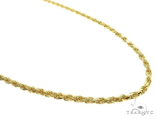 14K Yellow Gold Diamond Cut Solid Rope Link Chain 3.5mm Assortment of 20, 22, 24, 26, 28 Inches Gold