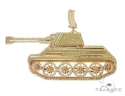 Custom Made Tank Diamond Pendant 66320 Metal