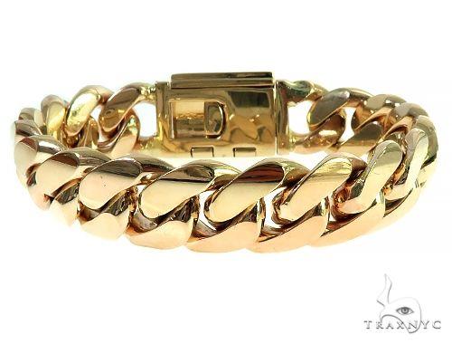 14K Gold Miami Cuban Link Bracelet with/ Diamond Lock Gold