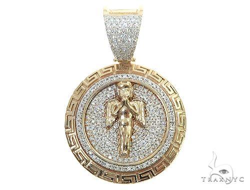 14K Gold Diamond Round Angel Pendant Metal