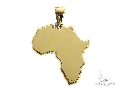 10K Gold Small African Ladies Pendant Metal