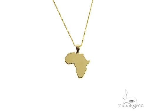 10K Gold Small African Ladies Pendant Set 66334 Metal