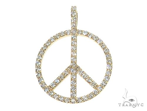 14k Gold Peace and Love Small Pendant Set 66338 Stone