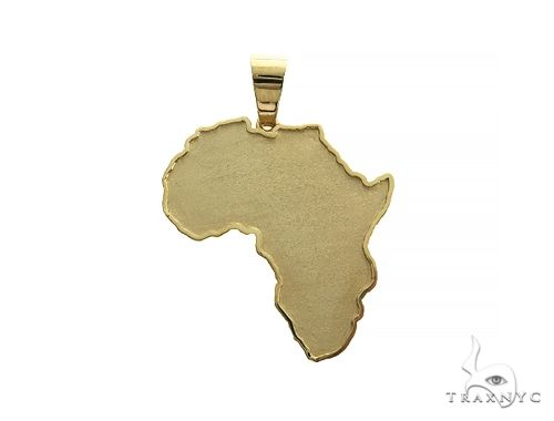14K Gold Medium African Pendant 66343 Metal