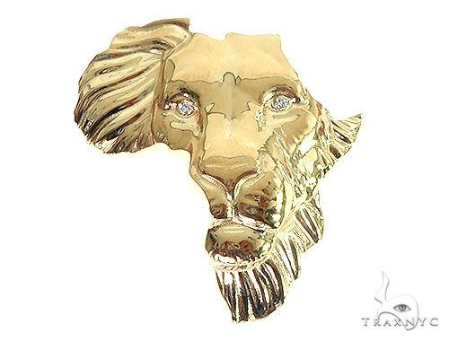 Medium  African Lion Face Pendant 66346 Metal