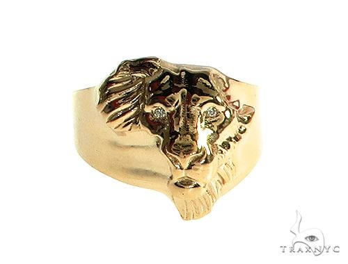 14K Gold African Lion Face Ring 66347 Metal