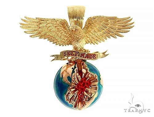 14K Gold Self Made Eagle Globe Pendant 66349 Metal